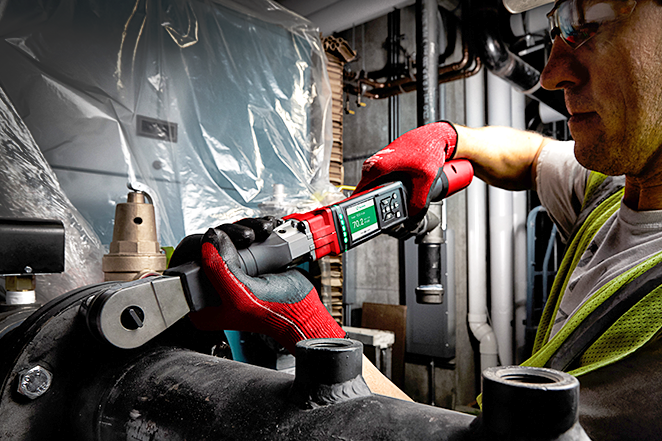 An electrical contractor uses a Milwaukee digital torque wrench to perform an installation