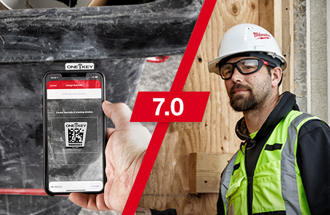 Construction worker uses smartphone's camera to scan a One-Key asset ID tag