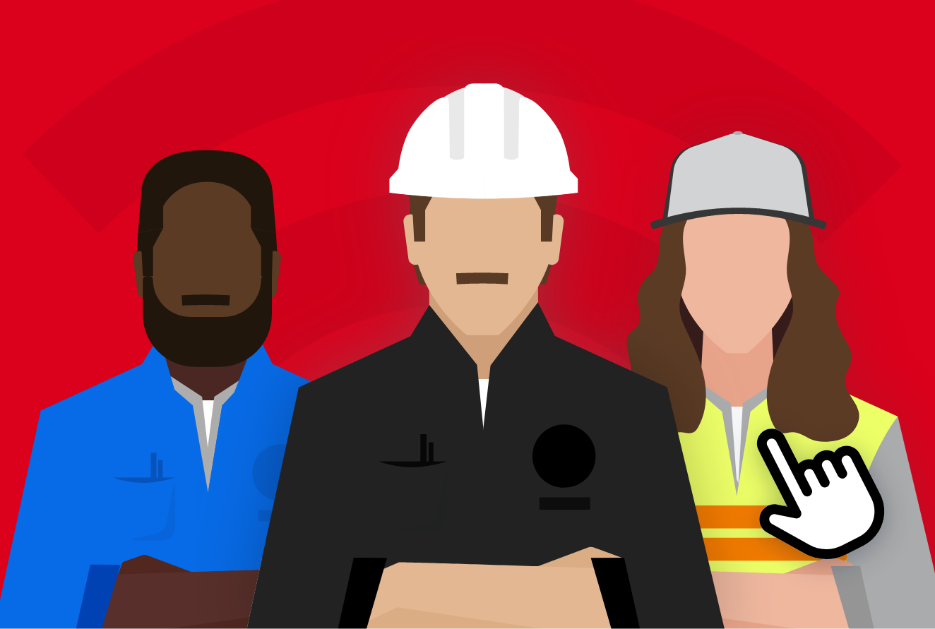 An illustration of three construction workers, two men and one woman
