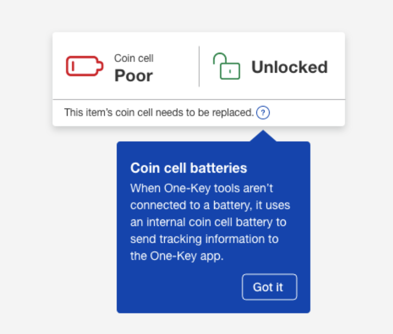 One-Key construction tool tracking web app displays coin cell level in smart tool as 'poor'