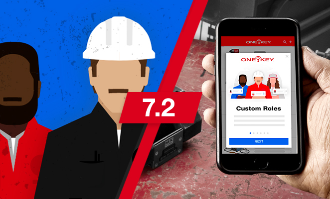 Illustration announces 7.2 One-Key app update with screen on 'custom roles' modal