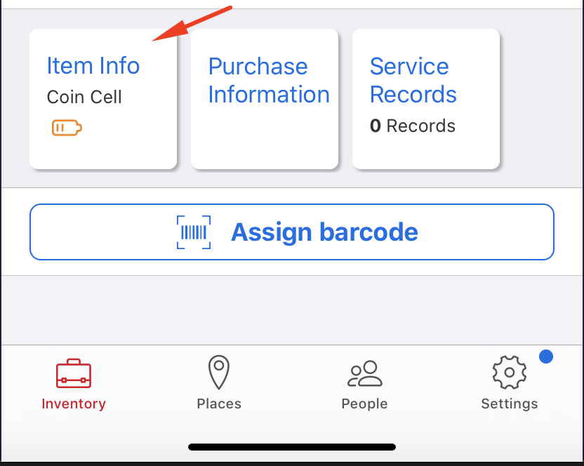 One-Key construction inventory management mobile app displays coin cell battery level in item's detail page