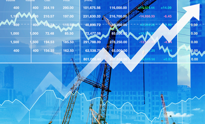 A financial forecasting chart shows financial figures and an arrow trending upward
