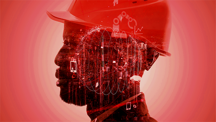 Silhouette of a construction worker wearing a hard hat accented by overlaid illustrations of various technologies