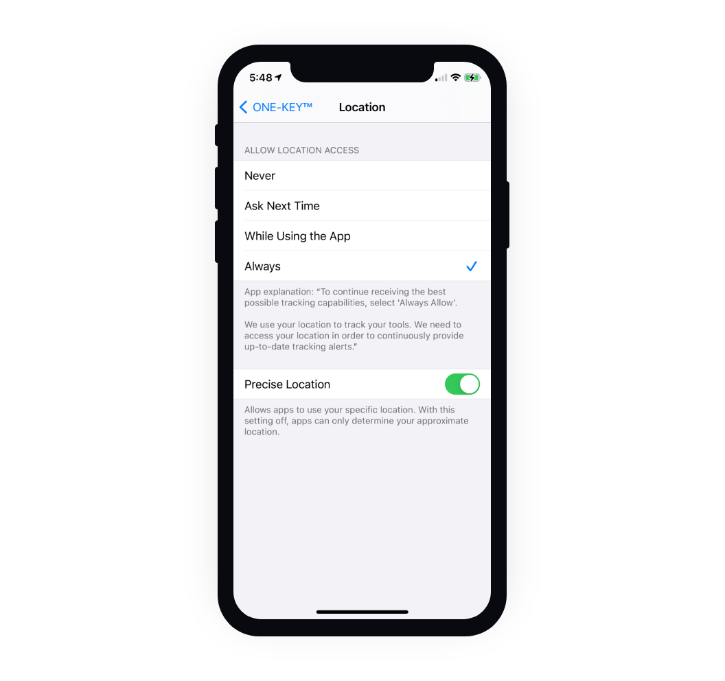 """iPhone shows location setting set to """"always"""" allow and """"precise location"""" toggled on"""
