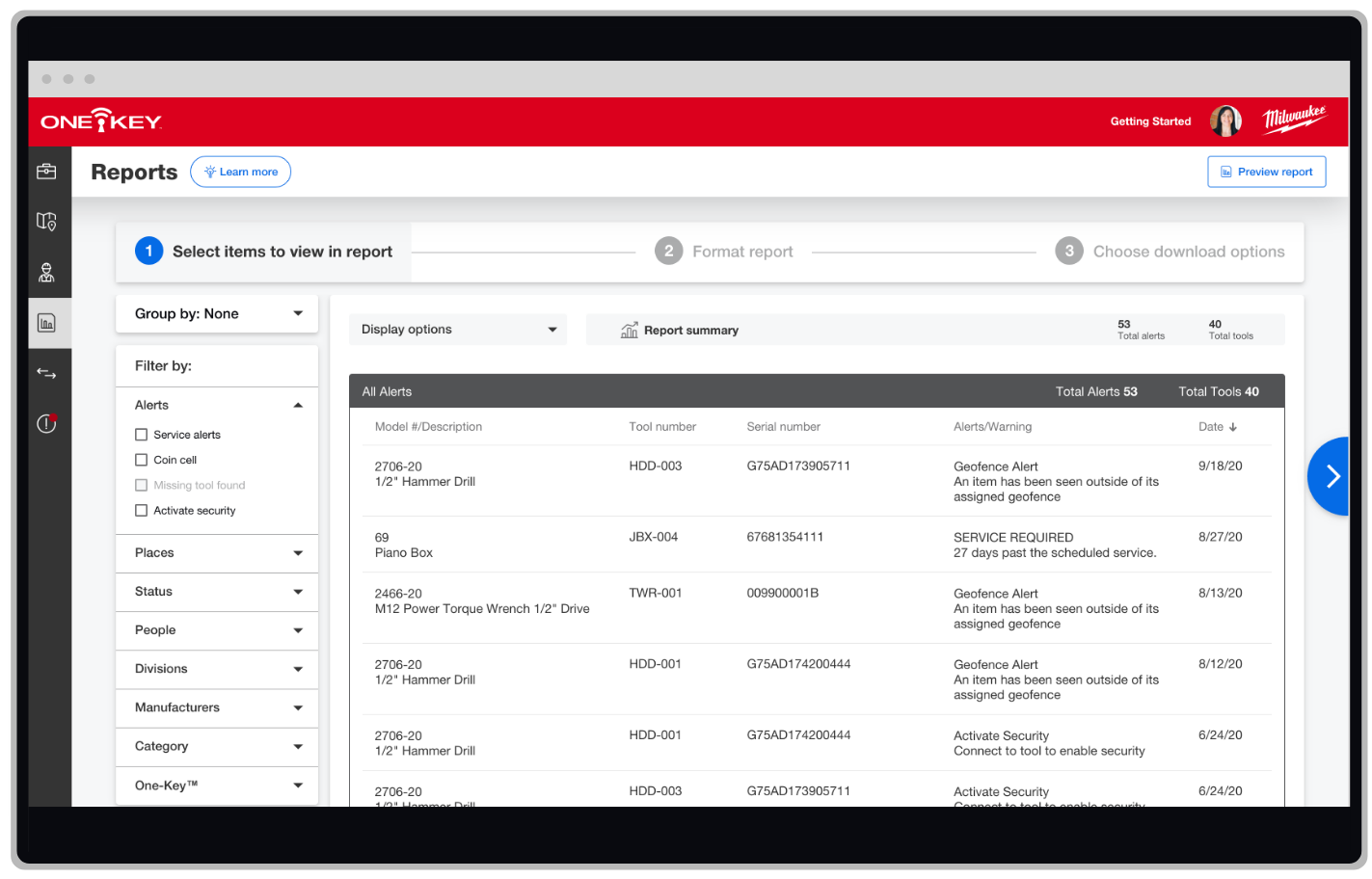 The One-Key enterprise inventory management app generates detailed alerts reports