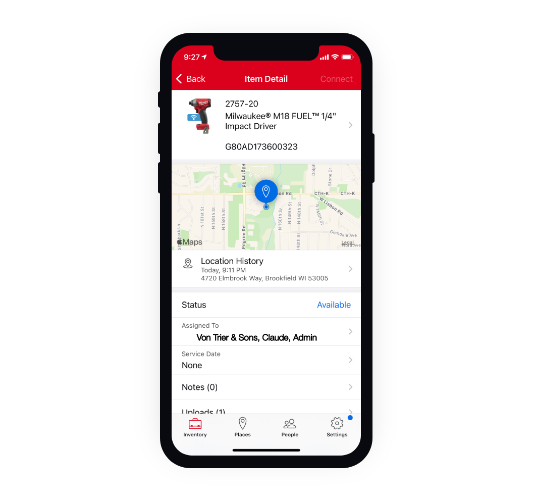 One-Key iOS app displays location history for tool