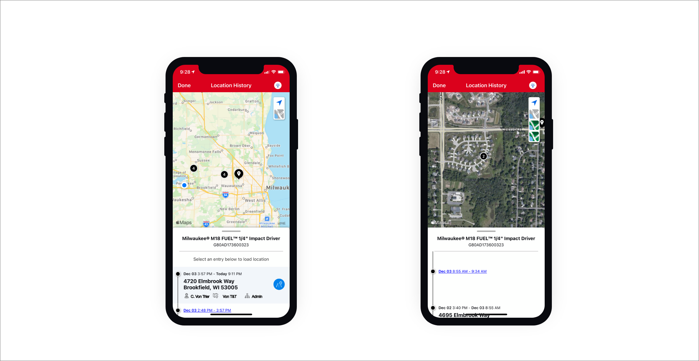 Two iOS devices display One-Key app location history maps