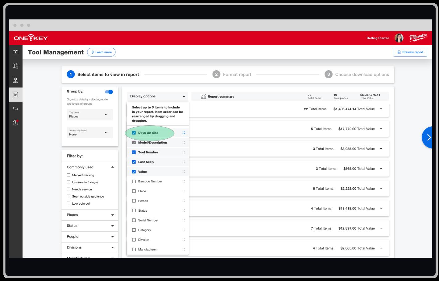 One-Key web app displays tool management report builder