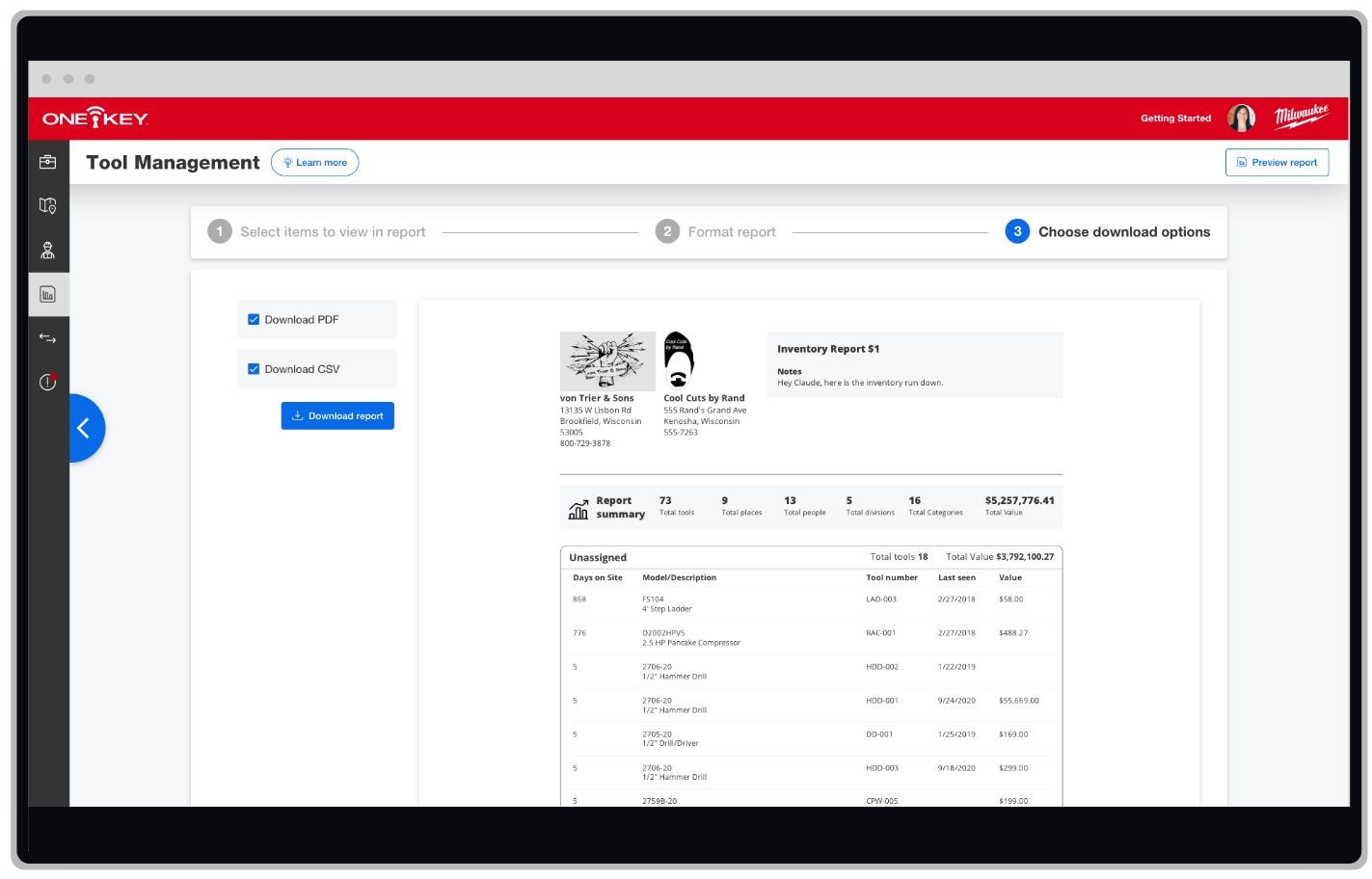 One-Key web app displays tool management report download options