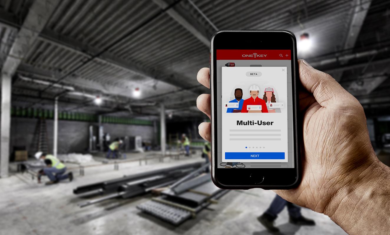 Smartphone displays One-Key app multi-user educational screen