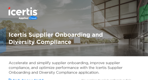 The Icertis Supplier Onboarding and Diversity Compliance Application