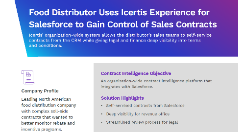 Case Study | Food Distributor Deploys Icertis for Streamlined Process