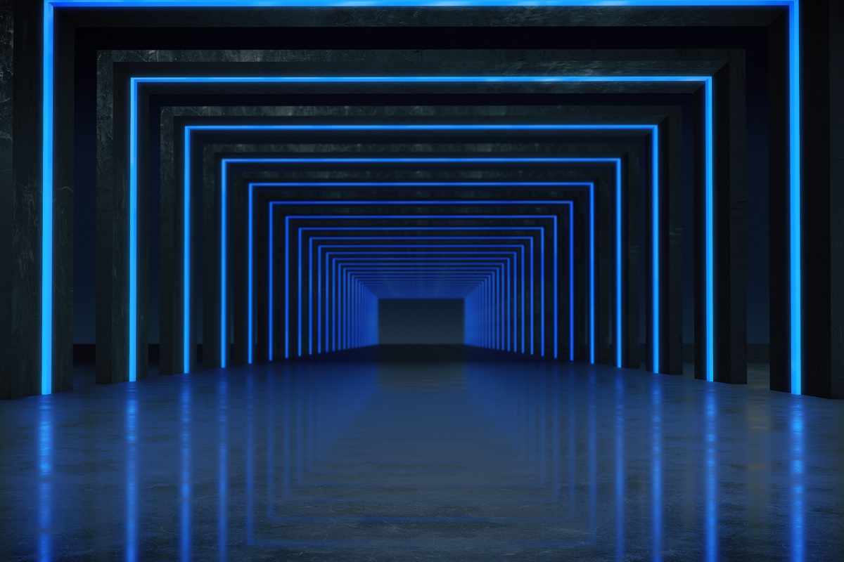 Long dark blue corridor interior with futuristic light.