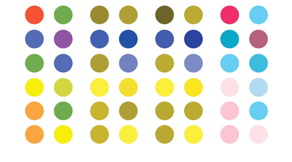 an organized collection of different colored dots ranging from light shades to dark