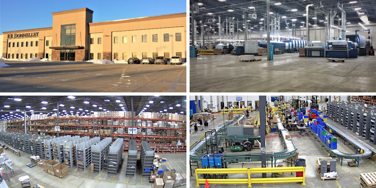 a collection of four images showcasing different angles of the warehouse machinery, conveyor belts, materials stacked on pallets and an image of the outside, main entrance to the facility