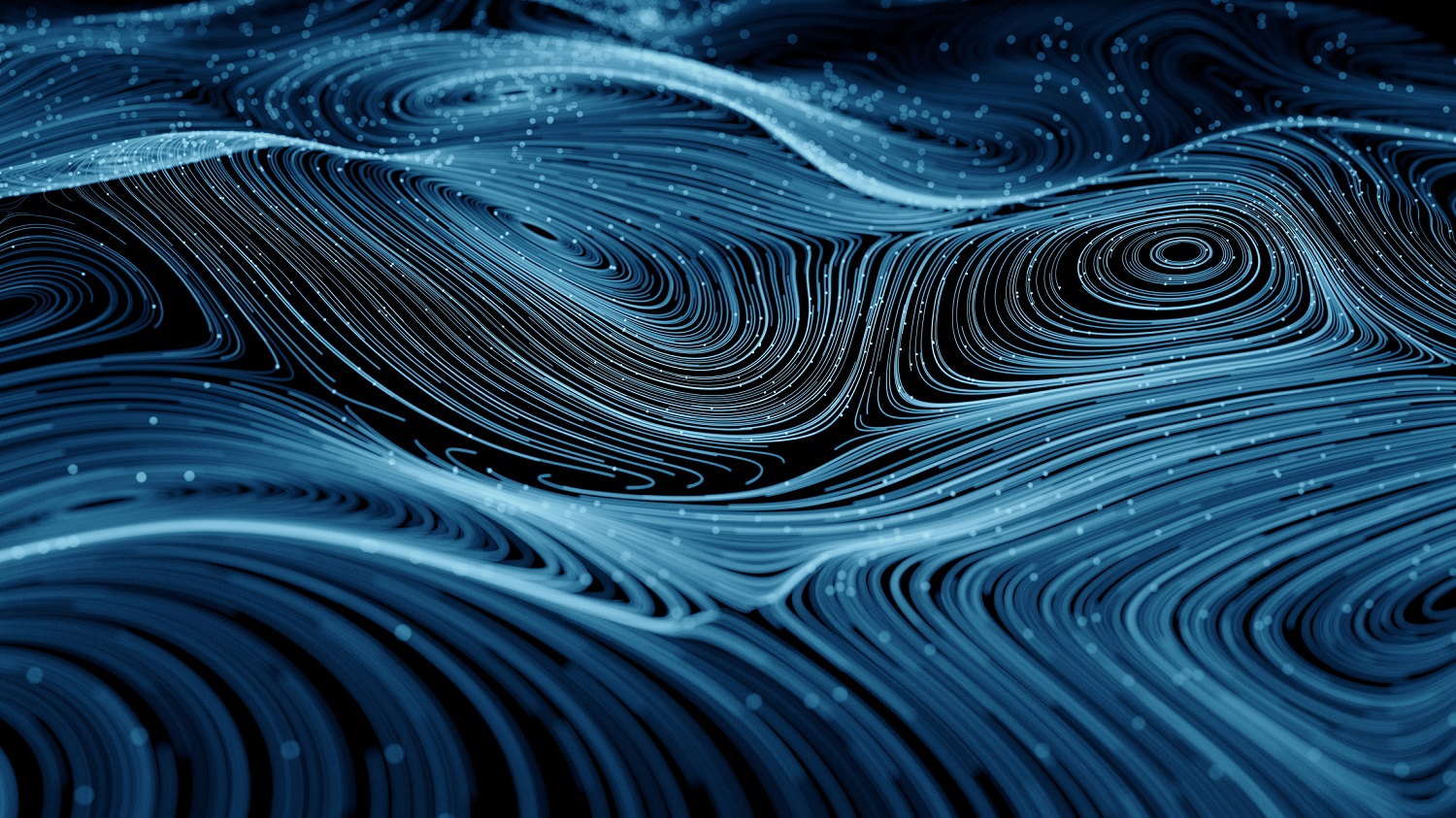 a collection of round, geometric lines blue lines made to look like abstract ocean waves but closely resembles a tomographic map