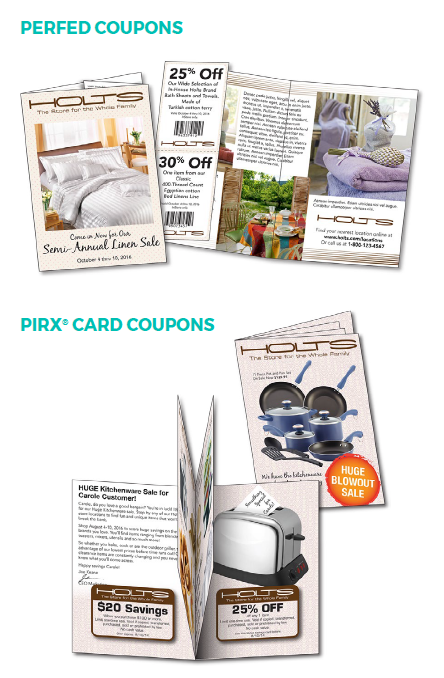 examples of perfed coupons and pirx card coupons