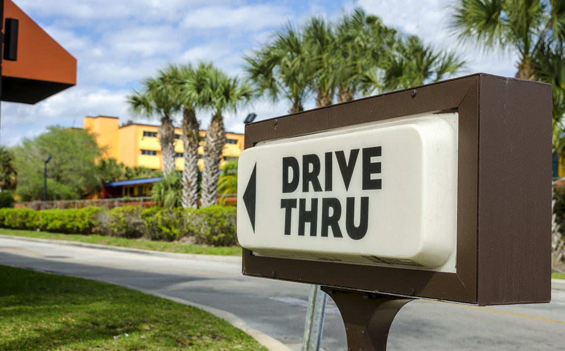 drive thru sign for a fast food restaurant