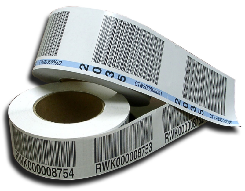 roll of linerless license plate labels