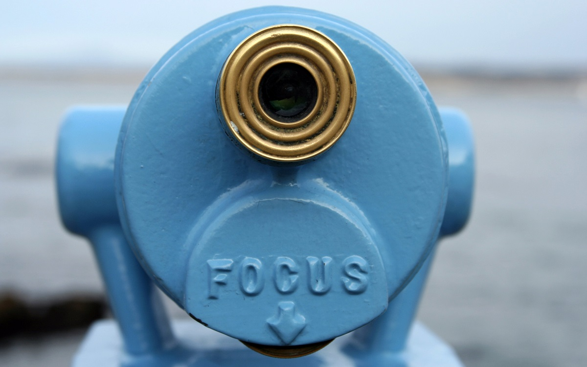 "Blue telescope viewer with word ""FOCUS"" on it"