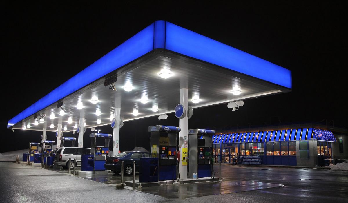 Illuminated Modern Fuel Service Station at night