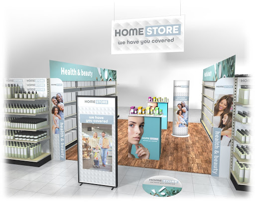 3D rendering of a store showing display signage