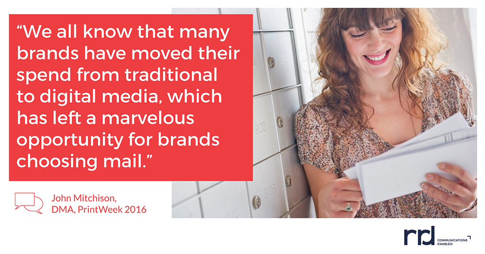image containing a quote from John Mitchison with DMA from PrintWeek 2016 that says many brands have moved their spend from traditional to digital media