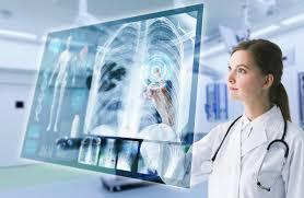 Doctor using futuristic imaging machine