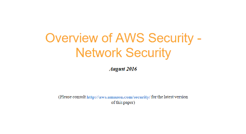 Overview of AWS Security: Network Security
