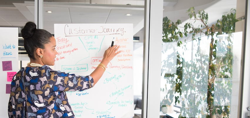 A marketer stands in front of a whiteboard with diagrams of the customer journey.