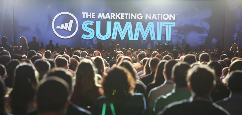 Marketo Marketing Nation Summit conference room with large crowd of marketing leaders and practitioners