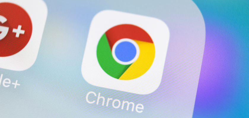 Close up view of phone screen chrome browser app