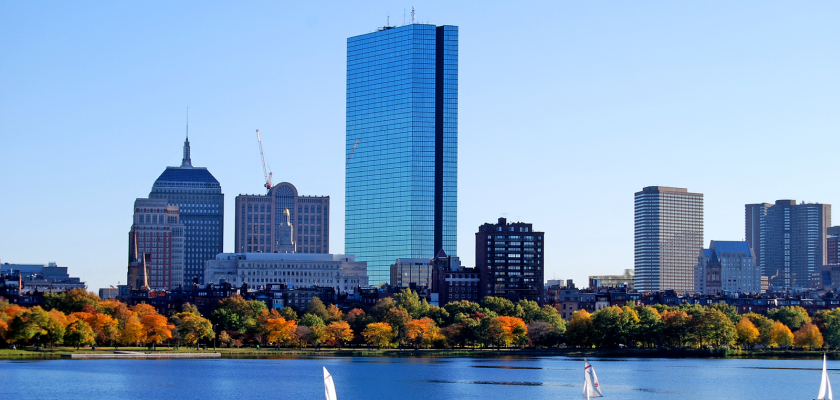 Boston, Massachusetts skyline in front of a waterfront for MarTech Boston conference
