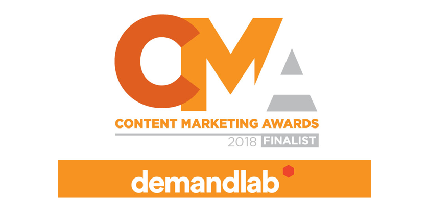 Content Marketing Awards banner for award finalist DemandLab