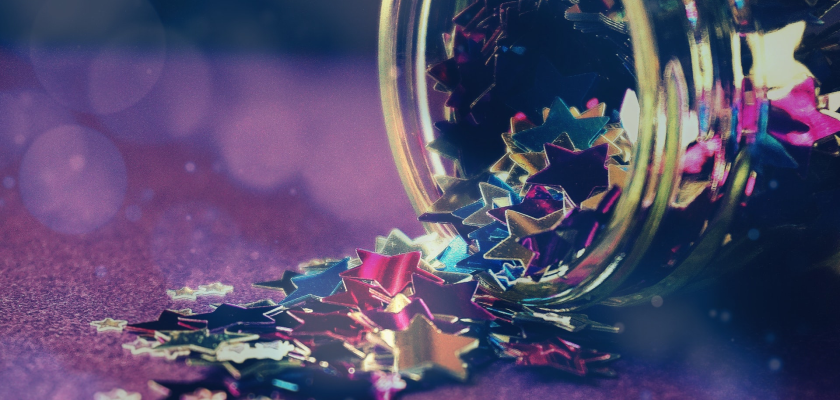 A jar of confetti spills out to represent celebration DemandLab's content marketing award win.