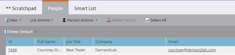 Marketo smart list example with people tab selected