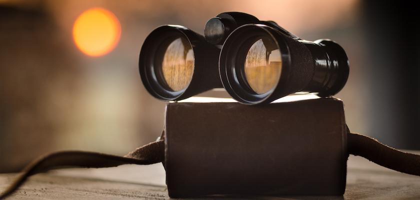 Binoculars atop box representing review of nurture programs