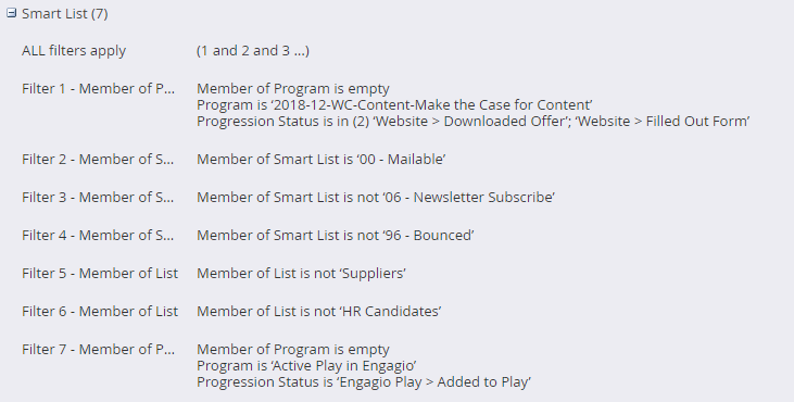 Marketo smart list filter example