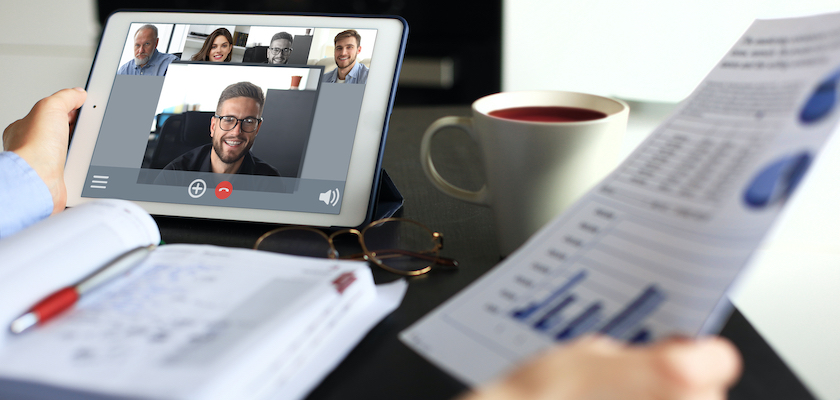 Marketing team executing initiatives via virtual meeting during COVID-19 crisis