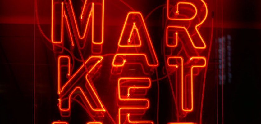 Neon red market sign