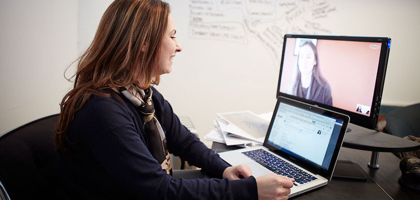 Rhoan Morgan, DemandLab CEO, connecting with virtual employee