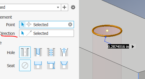 Inventor 2019 Hole Command Enhancements