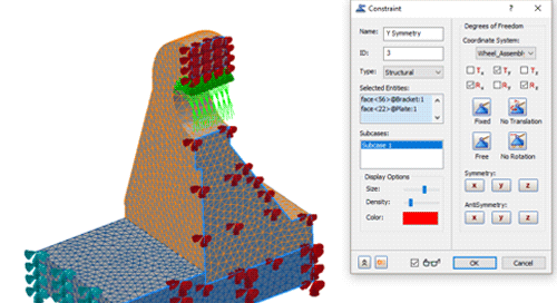 Using Symmetry constraints to reduce the element count and improve analysis times with Inventor Nastran