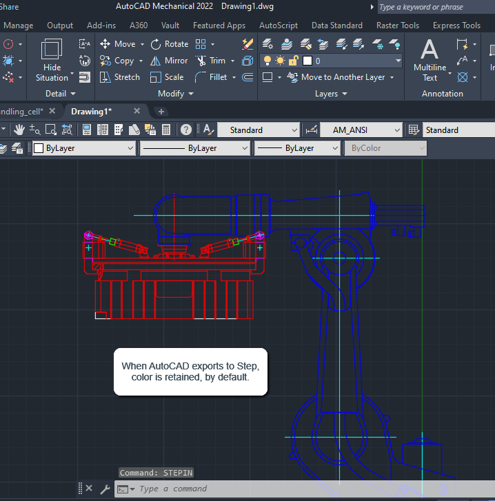 Imported STEP file that was exported from AutoCAD Mechanical.