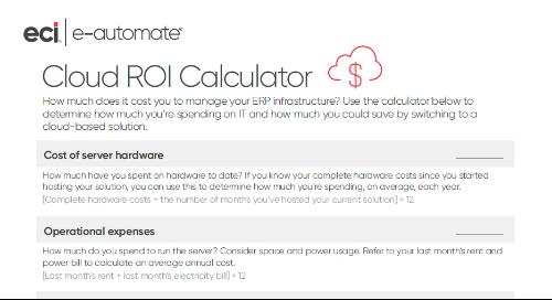 e-automate Cloud ROI Calculator