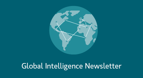 "Icon of a globe with a network connecting countries together with the wording ""Global Intelligence Newsletter"" underneath."