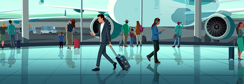 Illustration of people at an airport, with a man walking reading about international tax regulations on his mobile.