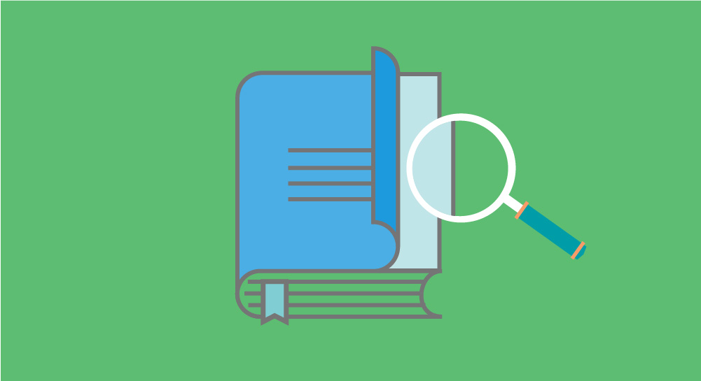 Feature illustration of magnifying glass over documents on green background for Shareworks Guide to Startup Valuation