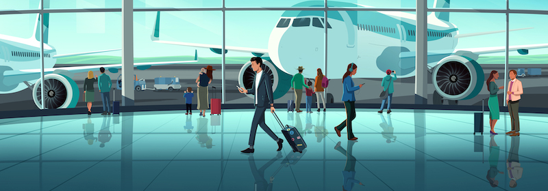 Illustration of an airport terminal with a man looking at his phone reading about private company tender offers.